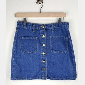 Heritage Palmer denim button front mini skirt